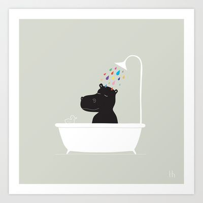 The Happy Shower Art Print by GretaZserbo - $19.00