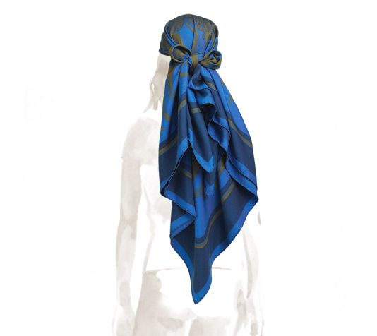 Foulard Soie Cachemire - Peinture Glittersparkle Bleu Par Vida Vida WKONE