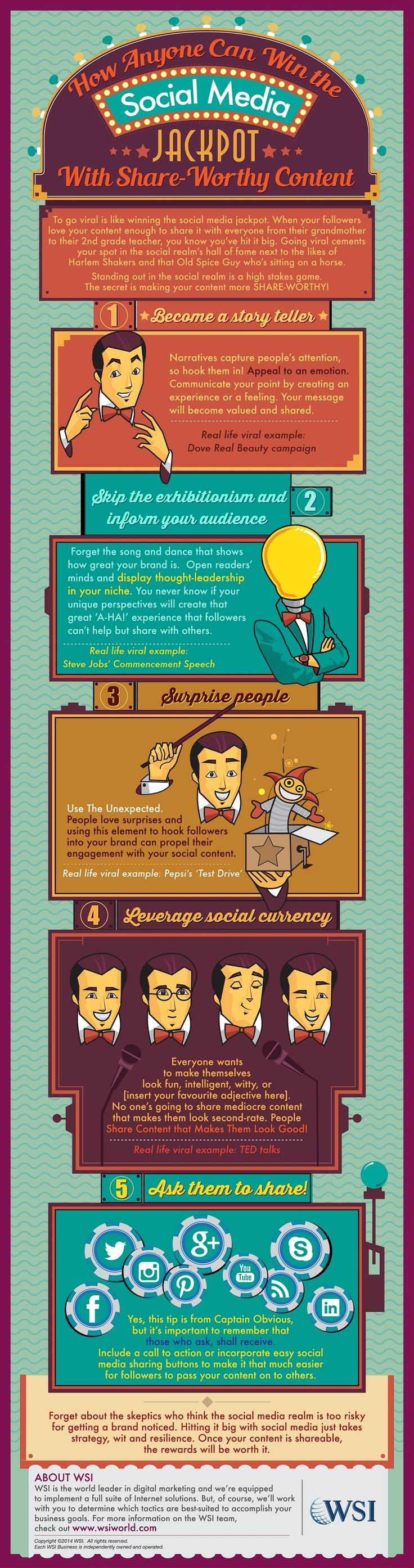 How To Win The Social Media Jackpot With Share-Worthy Content - #contentmarketing #socialmedia #infographic