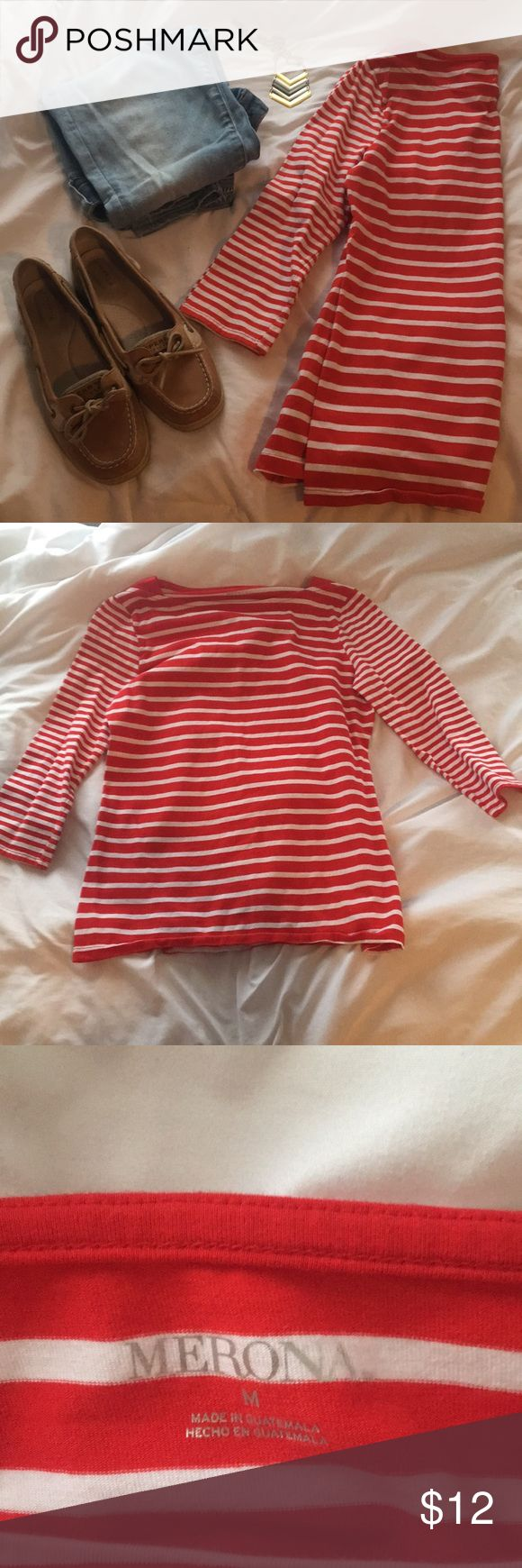 Red-and-White Striped Merona Shirt Medium red-and-white shirt made of 95% cotton and 5% spandex Merona Tops