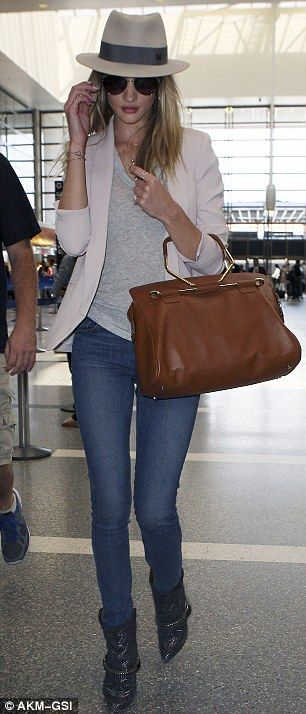 Rosie Huntington-Whitley airport travel outfit  nice celebrity casual style