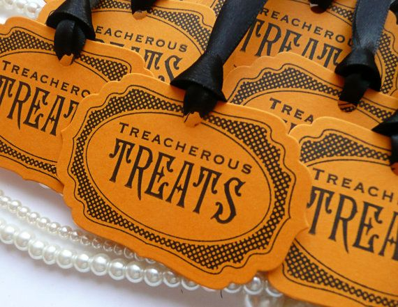 Halloween Tags , Treacherous Treats , Halloween Wedding Favor Tags , Set of 8 party decorations