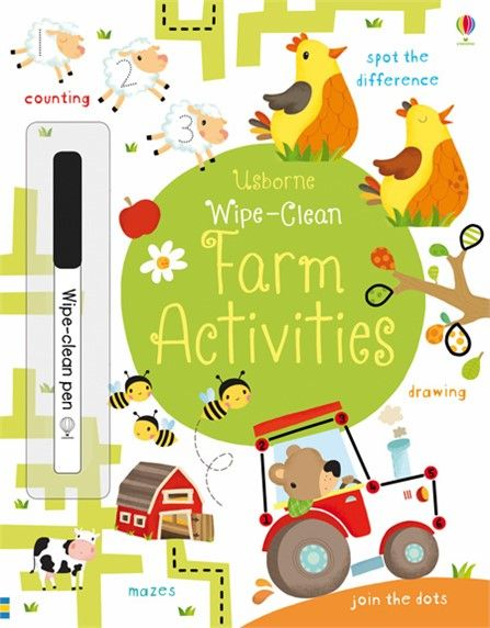 Usborne Wipe-clean farm activities  http://www.usborne.com/catalogue/book/1~EY~WC~8882/wipe-clean-farm-activities.aspx  #Usborne #wipe #clean #farm #activities #plastic #pen #whiteboard #farmyard #animals #children #counting #maths #math #puzzle #draw #book