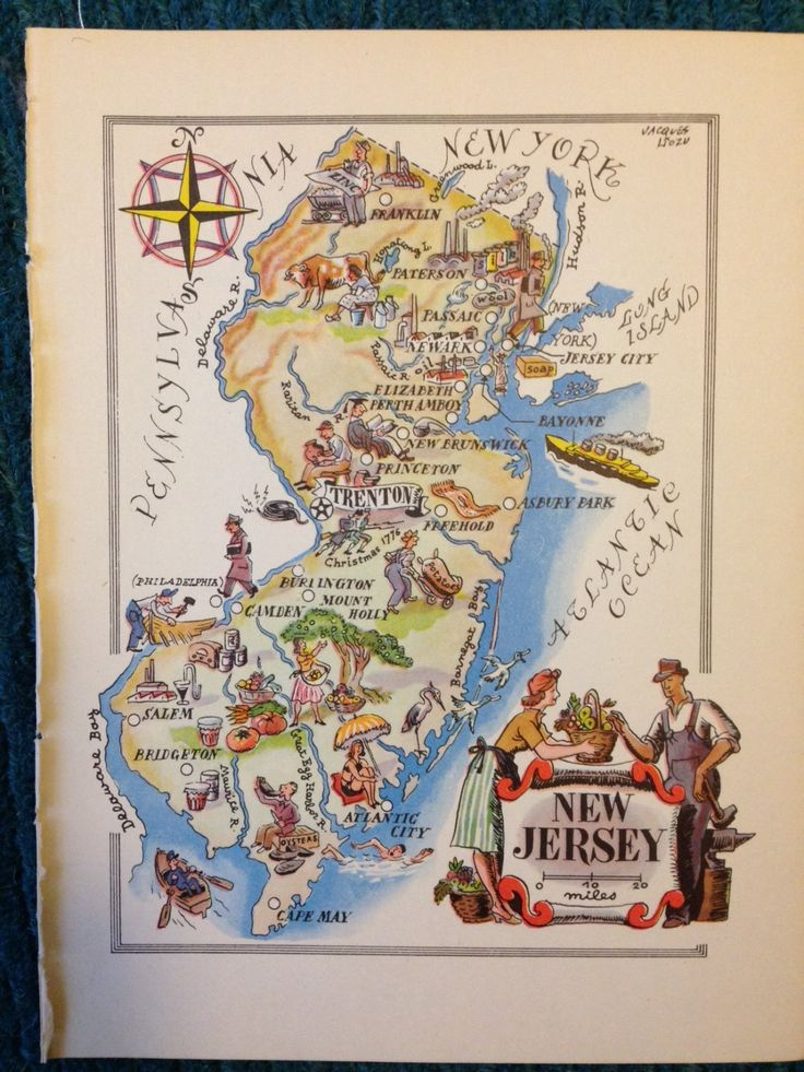 New Jersey Map Print NJ Map