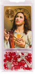 Sacred Heart of Jesus Rosary & Prayer Card with Medal.