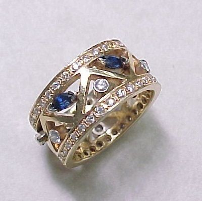 Image result for wide ring with large sapphire