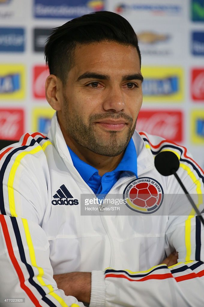 Radamel Falcao of Colombia attends a press conference at San Carlos de Apoquindo training camp on June 13, 2015 in Santiago, Chile. Colombia will face Venezuela as part of 2015 Copa America Chile on June 17.