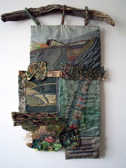"""""""Autumn"""" - mixed media wall hanging by Jenny Beasley. She used memories of a South Yorkshire childhood to inform this piece. #fiber_art #landscape #textiles"""