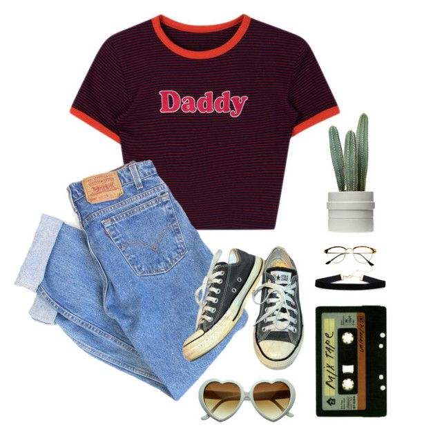 """""""d a d d y"""" by kayleyrobert on Polyvore featuring Levi's, Converse, Michele, Retrò and vintage"""