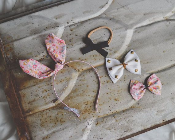 floral fabric knot bunny ears wire headband / pink flower