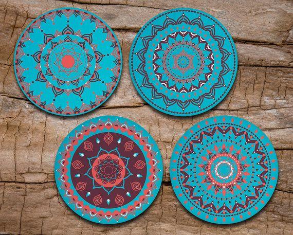 Turquoise Mandala Coaster Set of 4 - Mandala Art - Drink coasters