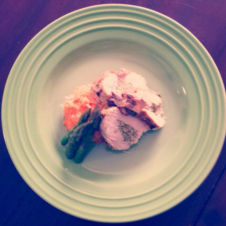 chicken roulade with mashed parsnip and sweet potatoes