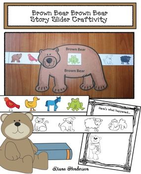 """Brown Bear Activities: Brown Bear story """"slider"""" craftivity. Includes BW + color, as well as a """"Here's What Happened..."""" writing prompt. Quick, easy & fun way to practice sequencing & retelling a story. :-)"""