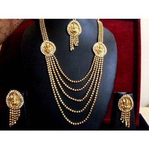 Beautiful Antique Laxmi Design 3 Layered Necklace Set
