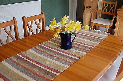 BN handwoven green cream striped cotton table runner 50 x 140 cm RRP £25