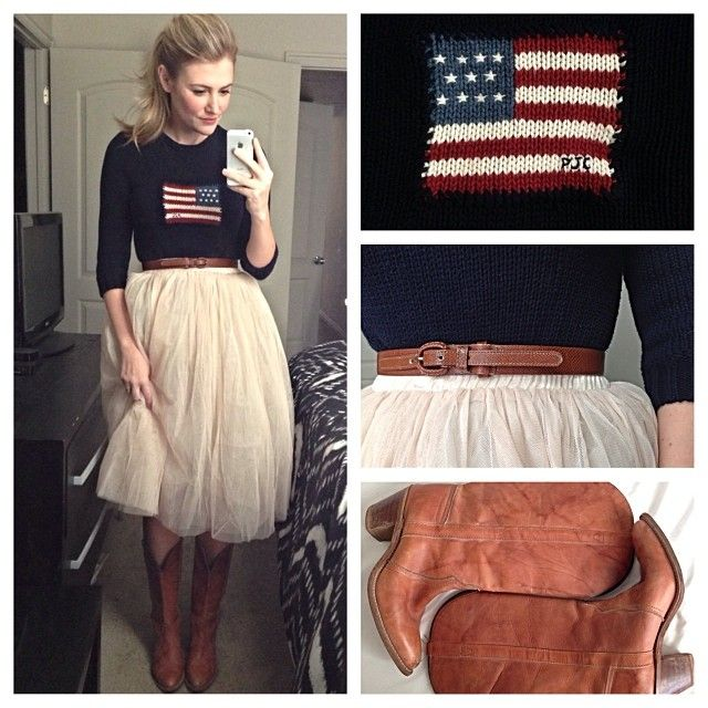 Patriotic sweater, tulle skirt, cognac belt, cognac boots, pony tail. #style #outfit Tulle skirt inspiration- karla reed's instagram