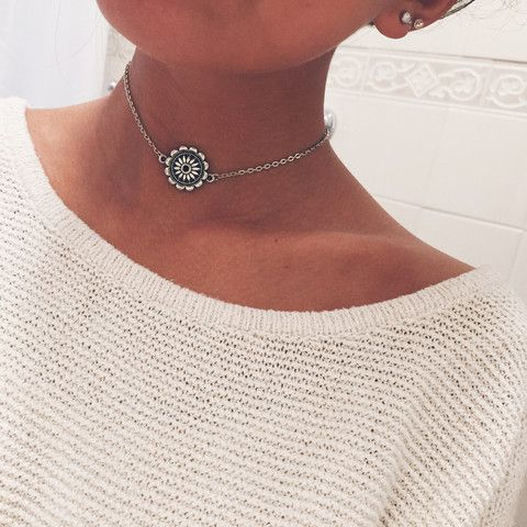 """- one of our most popular chain chokers, flower mandala pendant - 13""""-15"""" adjustable - silver layered"""