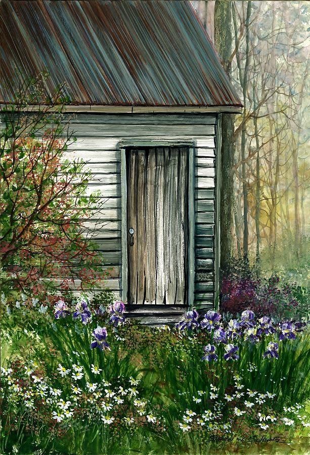 Iris By Barn Painting  - Iris By Barn Fine Art Print