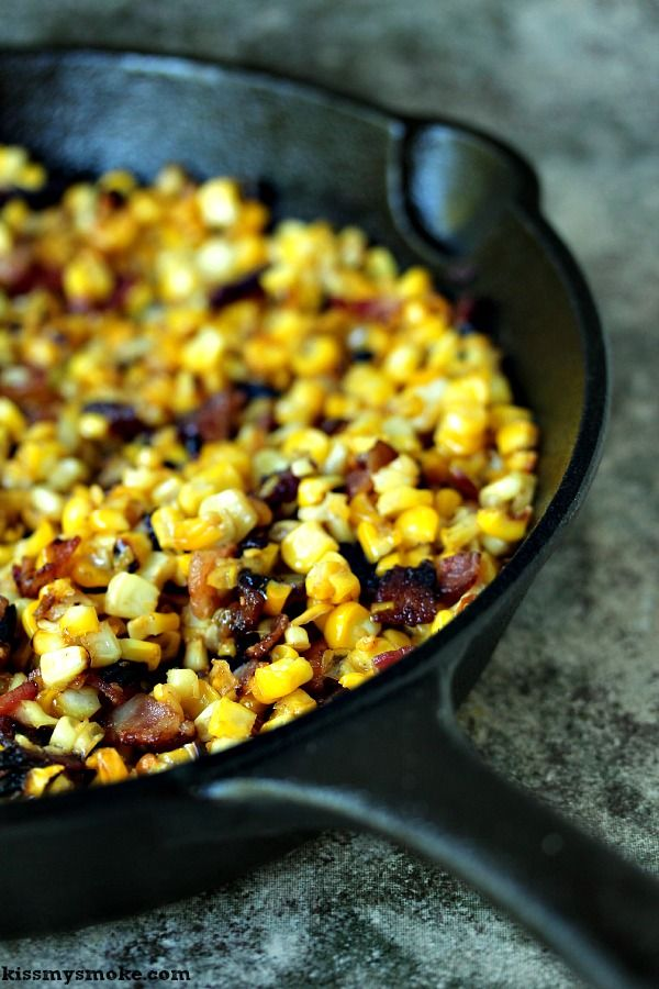Grilled Charred Skillet Corn with Bacon