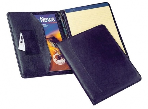 "Winn ""The Advisor"" Leather Letter-Sized Portfolio  A handsome black leather portfolio."