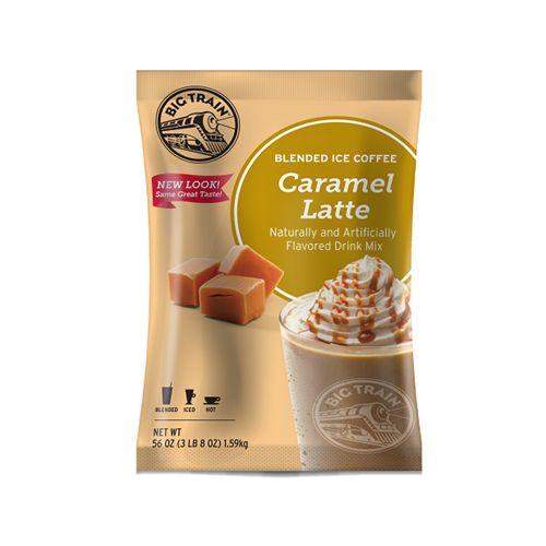 Caramel Latte blended ice coffee mix frappe powder 3.5 lb bulk wholesale bag | Big Train