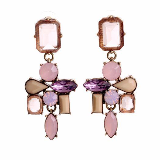 Fioletowo różowe delikatne kolczyki