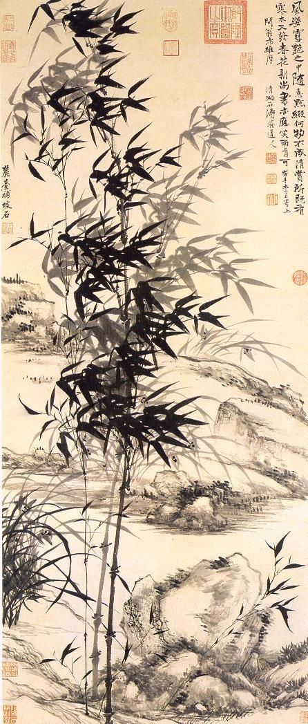 Shih-t'ao, Wang Yuan-ch'i: Bamboo and Orchids.  Ch'ing Dynasty, hanging scroll, ink and paper.   清代 - 石濤