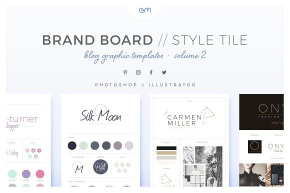 Brand Boards / Style Tiles VOL 2 by AM Studio on @creativemarket This collection is ideal for bloggers, graphic designers, photographers, interior designers, wedding planners, typographers and anyone who wants to share or maintain a brand online. Present your new logo design in style or use as a reference to keep your design consistent!