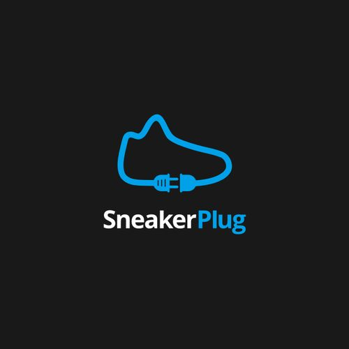 Simple and flat logo incorporate silhoueltte from shoes sneaker and plug.