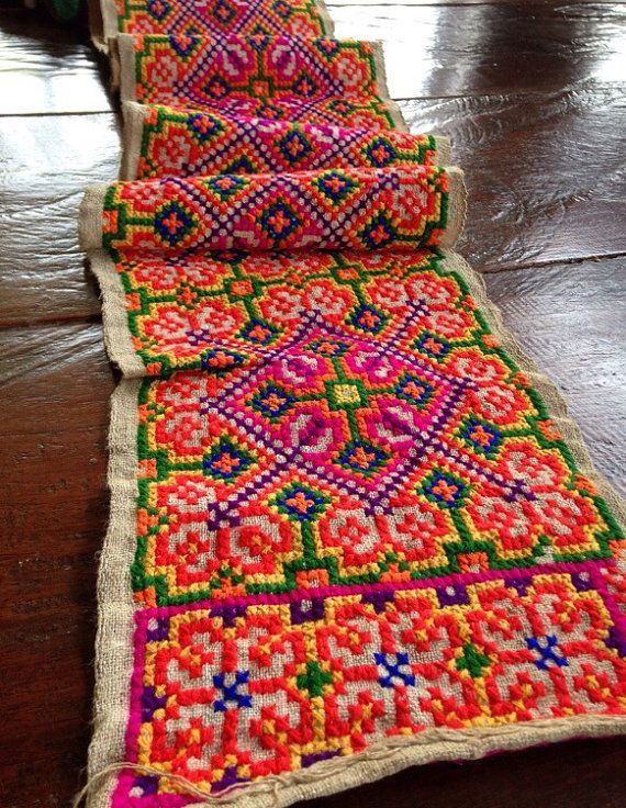Vintage Hmong fabric Tribal hemp Cross Stitch by KutchiKooTribe
