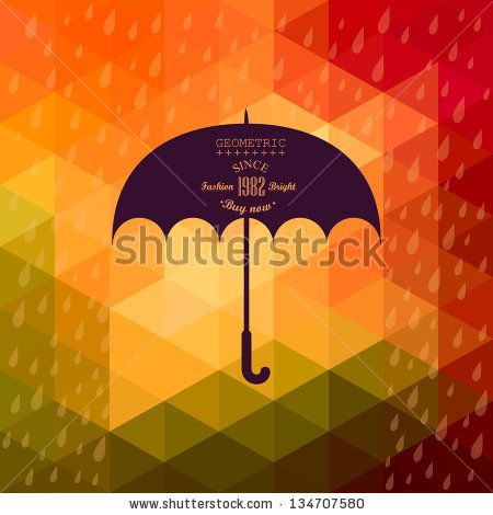 Retro umbrella symbol on hipster background made of triangles Retro background with rain pattern and geometric shapes.Label design. Square composition with geometric shapes, color flow effect. by Markovka, via ShutterStock