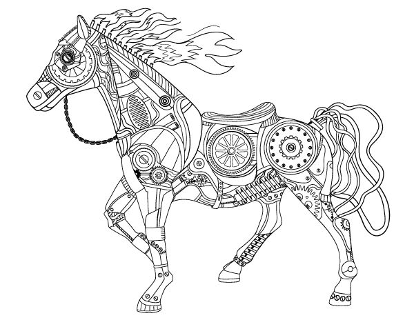 Free Printable Steampunk Horse Adult Coloring Page Download It In PDF Format At