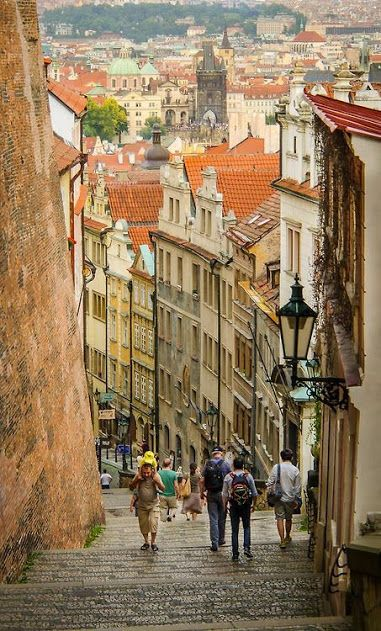 The Old Castle Stairs has been officially used since 1829.  The origins of the stairs date back to the 16th century.  From the Old Castle stairs there is a wonderful view of not only the Lesser Quarter's rooftops but more or less the whole City of Prague, Czech Republic.  Photo: google+