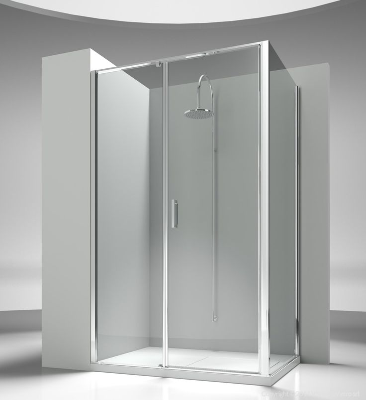 Corner shower enclosure made by an opening element L2 with a side element LG. The standard height of the complete programme is 195 cm, so to propose Linea as natural complement of the new generation of shower trays, partially or totally built in. Shower enclosures Linea by @vismaravetro | L2+LG