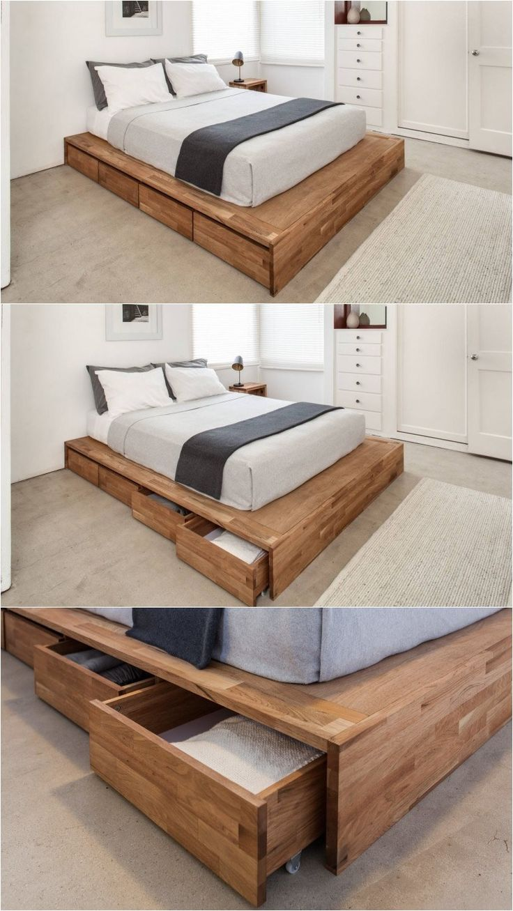 Bed frame with storage - 9 Ideas For Under The Bed Storage Eight Large Rolling Drawers Tucked Right Into This Wood Platform Bed Make It A Convenient Place For Storing Things