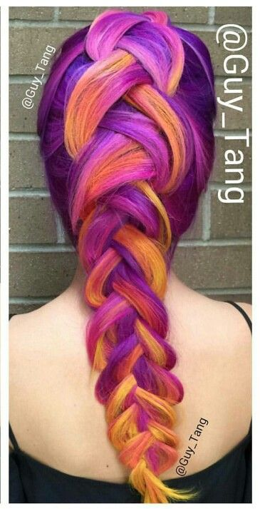 Yellow purple braided dyed color