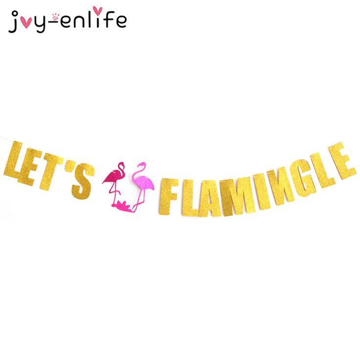 JOY-ENLIFE 1set Let's Flamingo Garland Banner Room Decor Baby Shower Birthday Party Swimming Pool Hawaiian Party Supplies