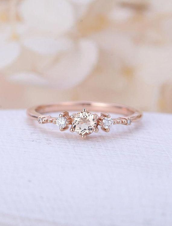 Butterfly Design Moissanite Engagement Ring 14k Two Tone Gold
