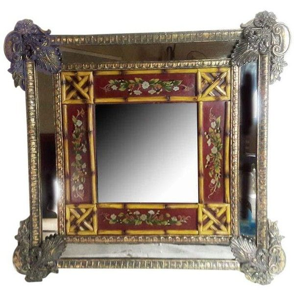 Art Nouveau Euro-Asian Wall Mirror ($200) ❤ liked on Polyvore featuring home, home decor, mirrors, wall mirrors, bamboo home decor, bamboo mirror, bamboo wall mirror and european home decor