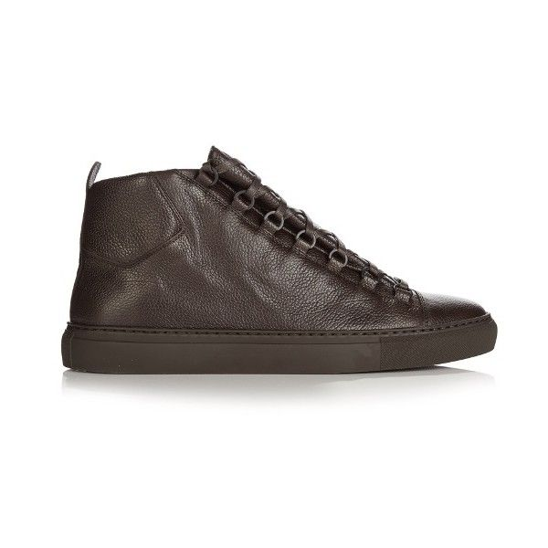 Balenciaga Arena high-top grained-leather trainers ($425) ❤ liked on Polyvore featuring men's fashion, men's shoes, men's sneakers, balenciaga mens shoes, mens high top shoes, balenciaga mens sneakers and mens high top sneakers