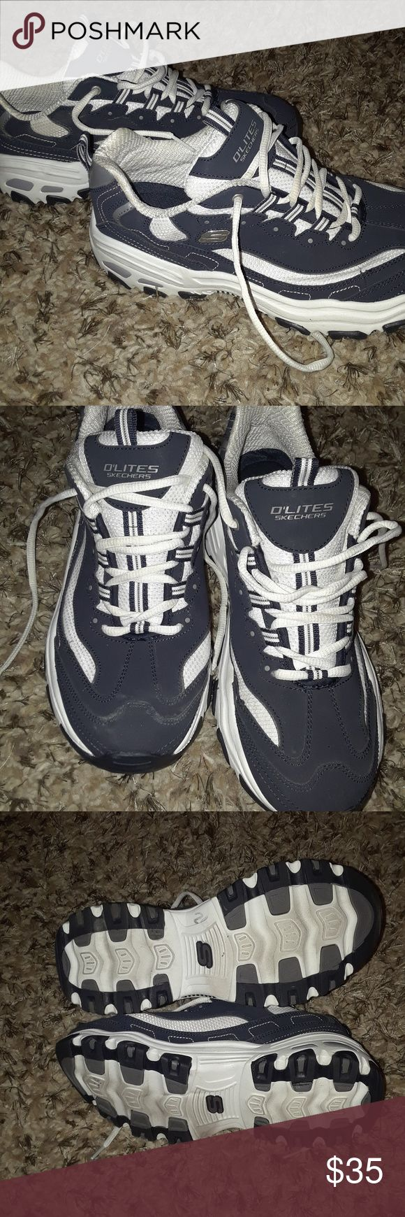 Sketcher O'lites Women's size 9 Navy Blue and white Excellent condition see photos Skechers Shoes Athletic Shoes