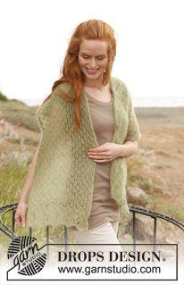 """Gebreide DROPS sjaal met kantpatroon van """"Kid-Silk"""". ~ DROPS Design"""