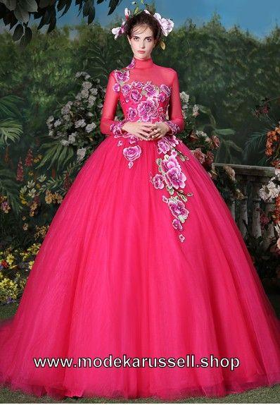 Ballkleid 2018 Brautkleid Ehrentraud in Pink mit Blumen Verziert