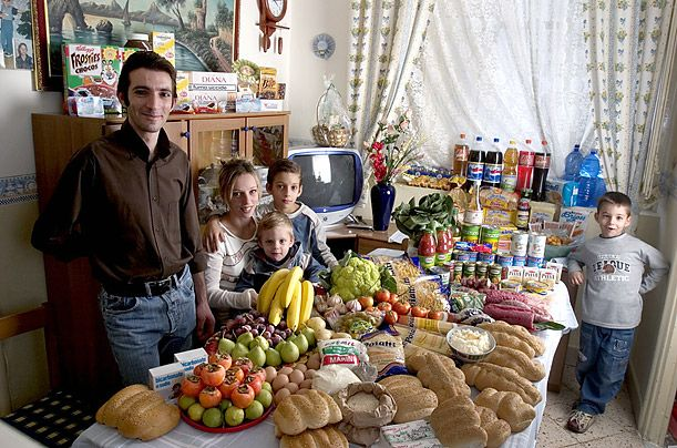 What the World Eats - A photo essay showing what different families around the world would eat in a typical week.  This is the Manzo family of Sicily Italy.  They spend $260 USD for the weeks food supply.  Favorite foods:  fish, pasta with ragu, hot dogs, frozen fish sticks.