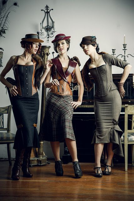 The squared neck corset on the right is my favorite.  But I'm loving the skirts on all three