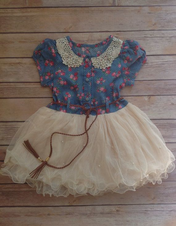 Western girls tutu dress ivory dress toddler by AvaMadisonBoutique