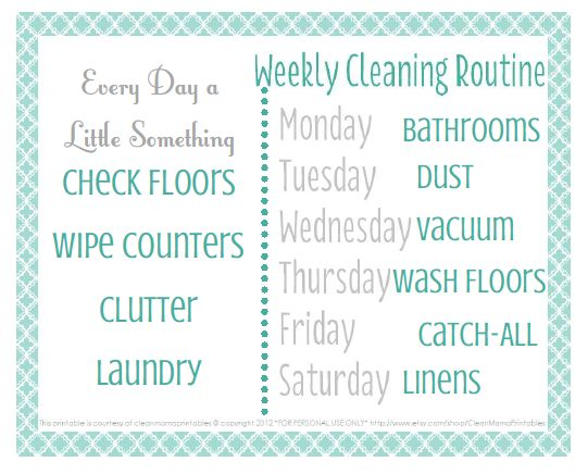 Print out this little cleaning routine printable freebie and pop it on your fridge for a friendly (and cute!) reminder. Via Clean Mama