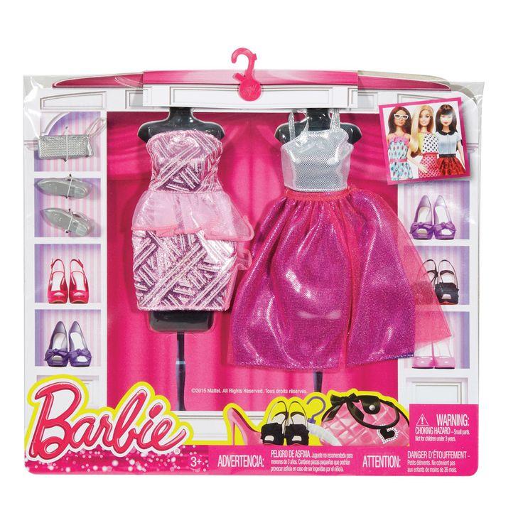Barbie dukketøj, 2 sæt - pink kjoler | LirumLarumLeg