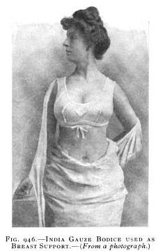 India Gauze Bodice used as a breast support from The Practice of Obstetrics by J. Clifton Edgar, 1912Vintage Lingerie, Edwardian Fashion, Brassieres Popular, Edwardian 1910 14, 1910 Fashion, 1900 1910S, 1910 S Bra, Historical Undergarments, 1900 1920
