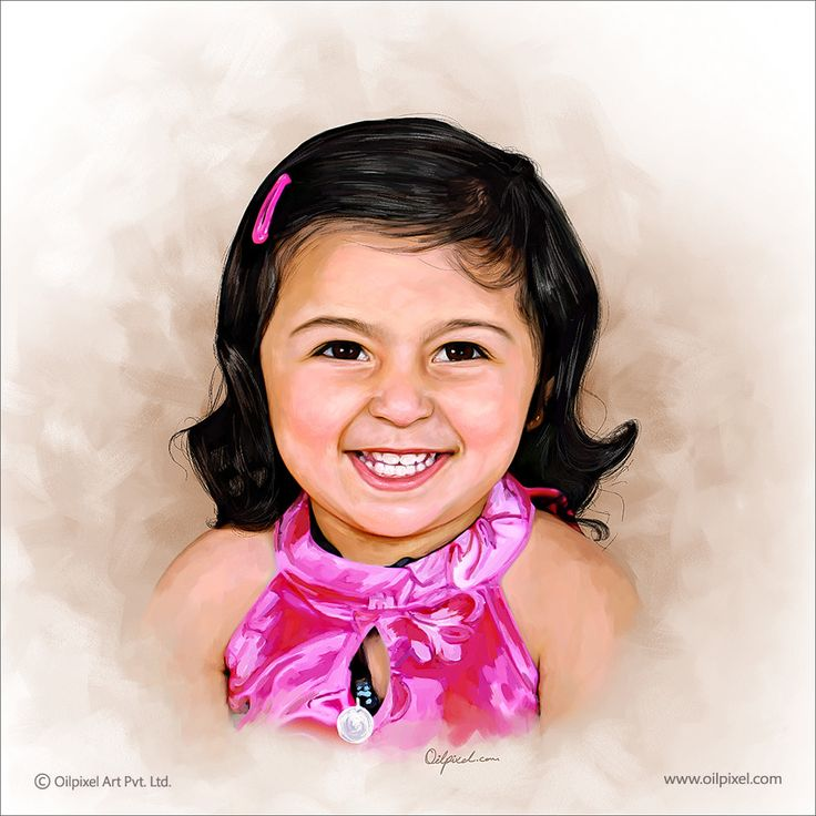 Lovable digital portrait #painting of smiling baby girl. Contact us for digital portrait painting to capture innocent moments of your child that certainly bring smile on your face.